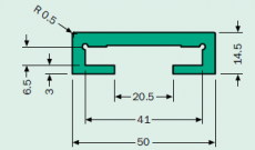 Murtfeldt C-profil, zöld PE, 40x6 mm laposvasra, 6 méteres szálakban (kód: LOR_M_C-prof-40x6_PE_Z_6m, cikkszám: 211500029)