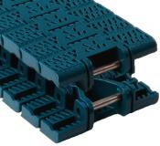 Rexnord FGM 1040 XLG kanyarodó (Magnetflex) sz.lánc, Flush Grid, o.: 25,4mm, sz.: 84mm, POM, zöldeskék (kód: 10604583, cikkszám: 10604583)