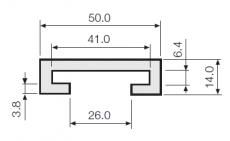 C-profil, zöld PE, 40x6 mm laposvasra, 3 méteres szálakban (kód: LOR_M_C-prof-40x6_PE_Z_3m)