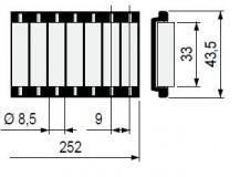 S0000644613 - Rexnord (Marbett) görgős oldalvezető modul, alu profil nélkül, PE fehér görgőkkel 43,5x252mm, cikksz.: 10371683