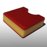 PE300UV-STC piros-sárga-piros 15 x 1500 x 3000 mm - PE-HD (nagy sűr. polietilén), UV-álló, strukturált f., 3 rétegű műanyag tábla