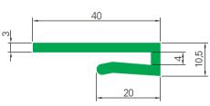 J-profil, fehér PE, B=40mm, H=10,5mm, 2 vagy 3 mm laposvasra (kód: LOR_M_J-prof_40x10,5_F)