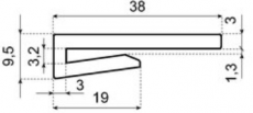 J-profil, fehér PE, B=38mm, H=9,5mm (kód: LOR_M_J-prof_38x9,5_F)