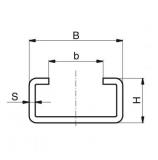 Murtfeldt acélprofil C-profil, C-1 rozsdamentes 2000 mm (2 m-es szálakban)