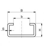 Murtfeldt acélprofil C-profil, C-5 rozsdamentes 2000 mm (2 m-es szálakban)