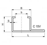 Murtfeldt acélprofil C-profil, C-15v horganyzott 2000 mm (2 m-es szálakban)