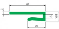 J-profil, zöld PE, B=40mm, H=10,5mm